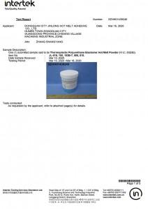 Hot Melt Powder Test Certification-1